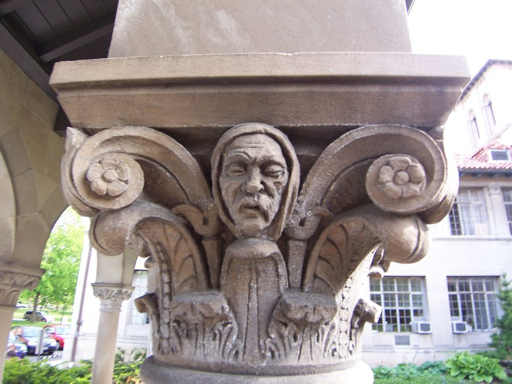 Oberlin Graduate School of Theology Quadrangle, Carving detail.